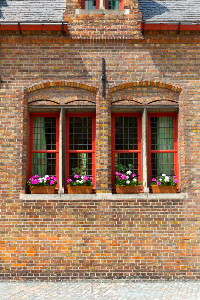 ancient building facade with flower bed