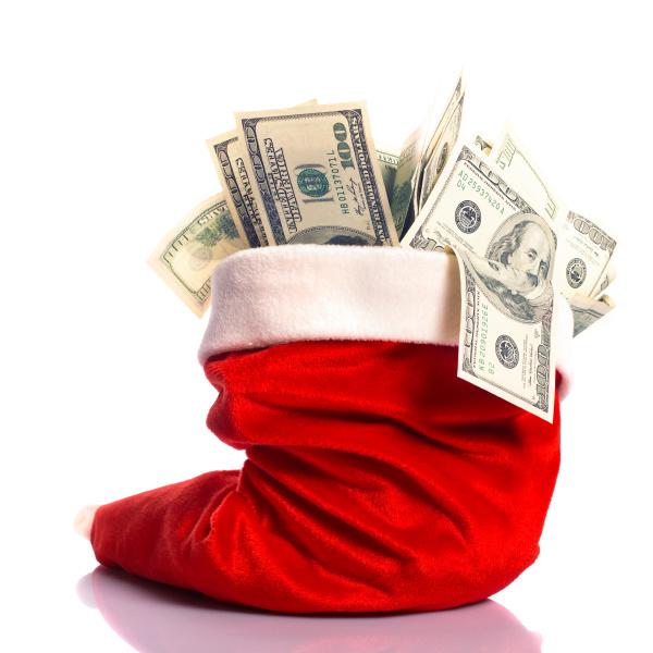 christmas, hat, full, of, money - 28088185