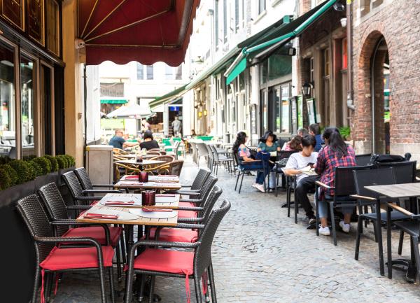 people in street cafe old european