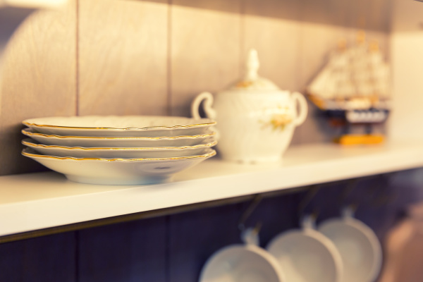 white plates and dinnerware in a