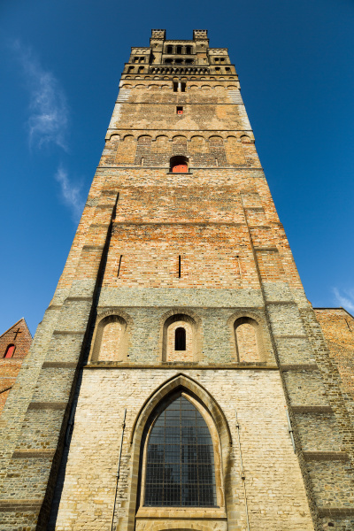 ancient tower in provincial european town