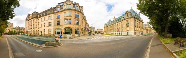 old european tourist city street panorama
