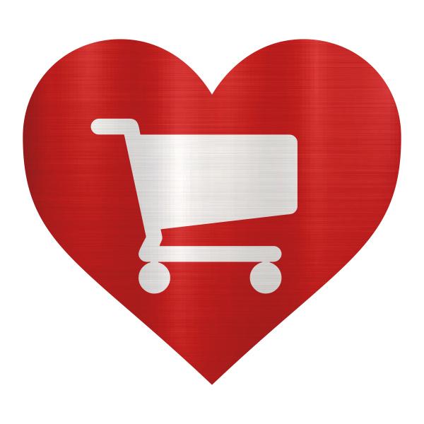 shopping online red love heart illustration