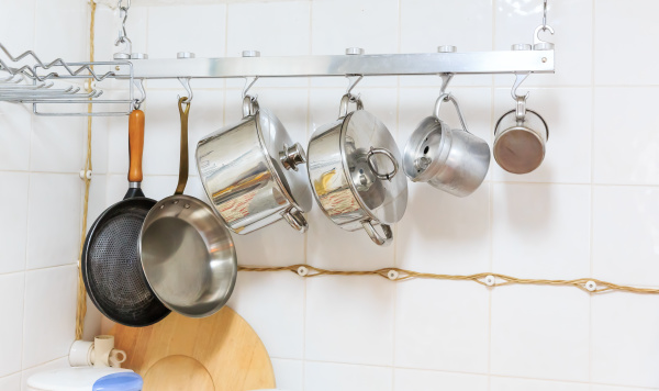 pans and pots in the kitchen