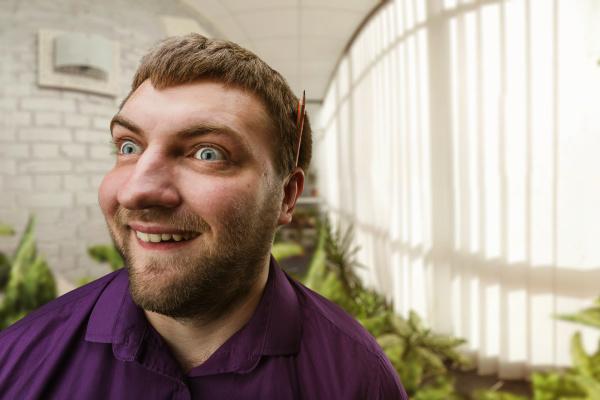 strange funny man in the office