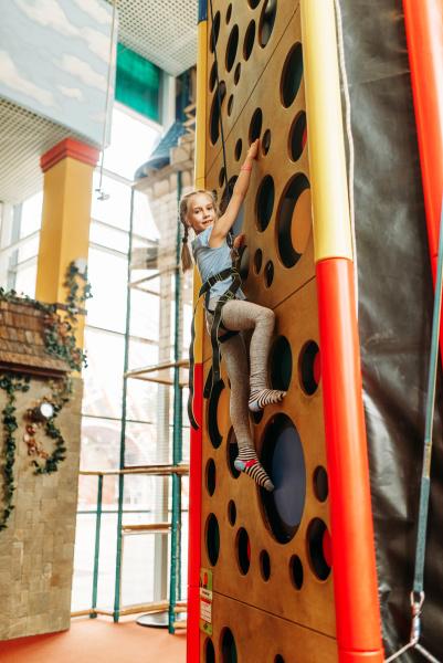 funny girl climbing walls in children