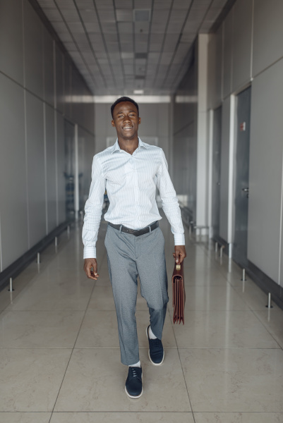 ebony businessman with briefcase in office