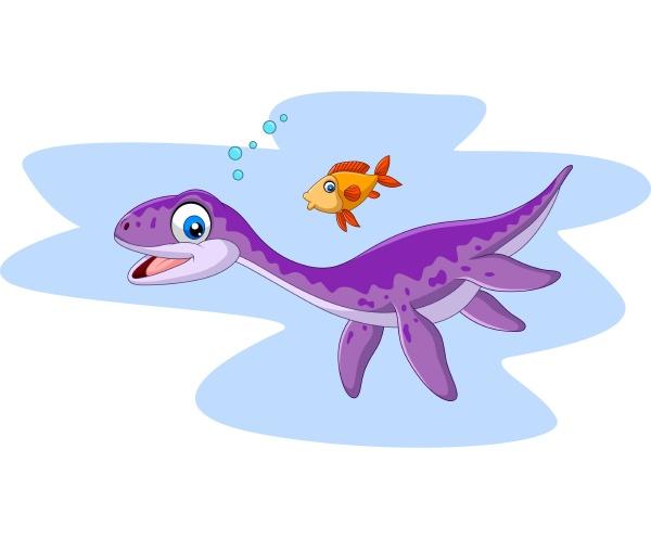 cartoon smiling plesiosaurus and fish