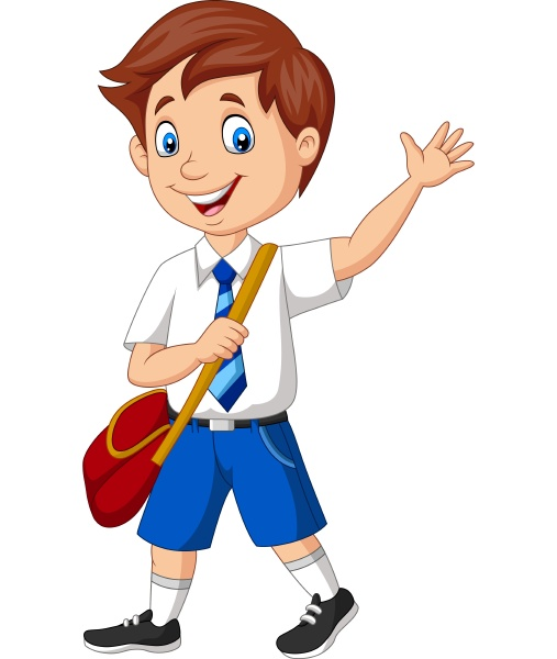 cartoon school boy in uniform waving