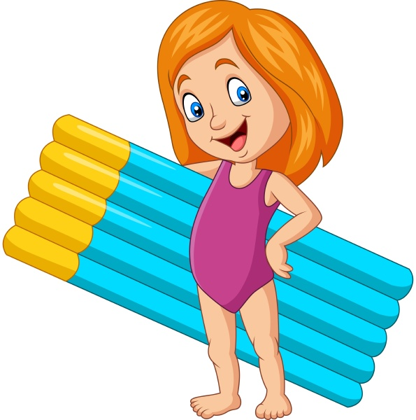 cartoon girl in a swimsuit holding