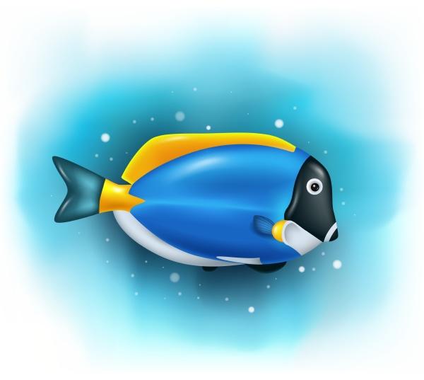 cartoon cute blue tang fish