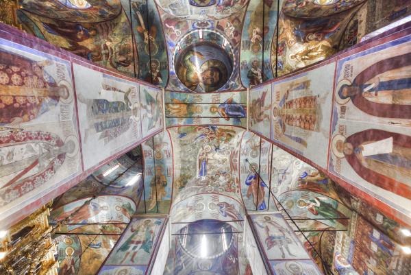 frescoes holy dormition cathedral trinity sergius