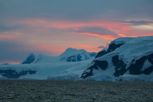 dramatic sunset gerlache strait antarctica antarctic