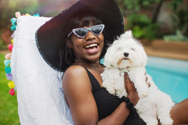 portrait happy young woman with dog