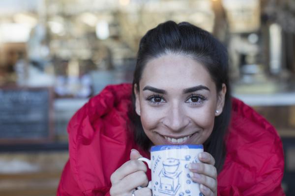 close up portrait happy young woman