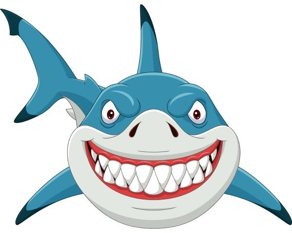 cartoon angry shark isolated on white