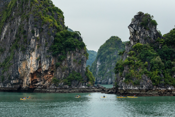 kayaking in the halong bay of