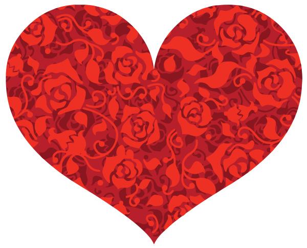 love heart many roses red illustration