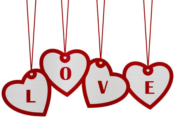 love hearts hanging text metallic romance