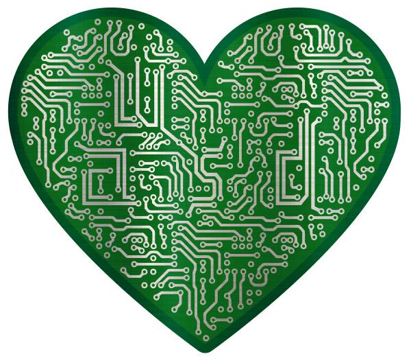 tech circuity electronic heart shape connection