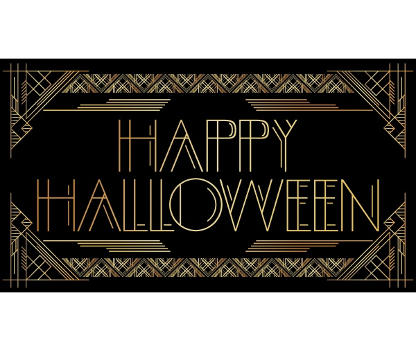 golden decorative happy halloween sign with