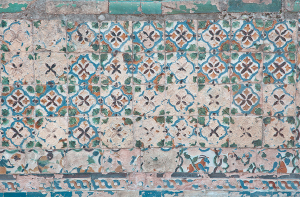 distressed colorful tiles with pattern