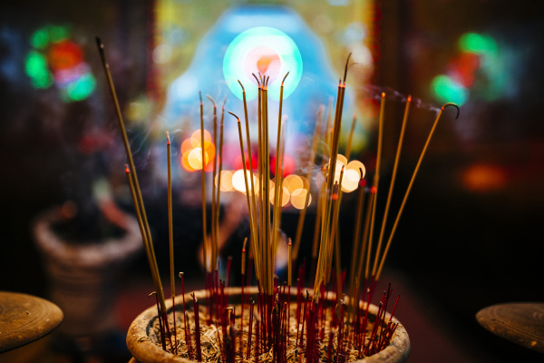 high angle close up of incense