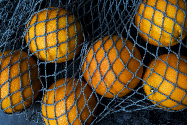 high angle close up of oranges