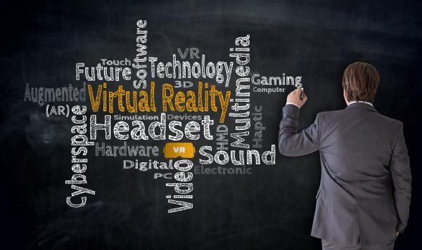 businessman writes virtual reality cloud on