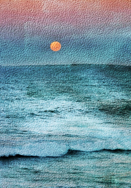 seascape with a full moon over