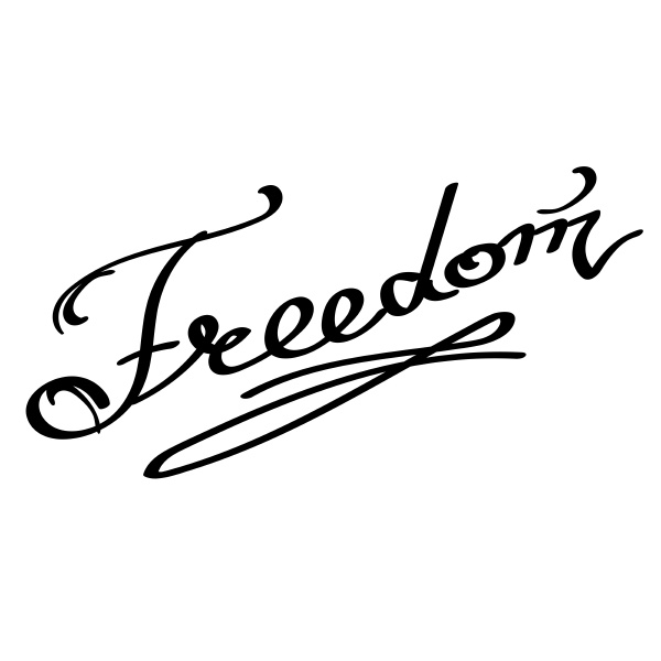 lettering freedom text hand sketched typography