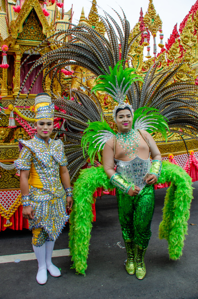 thai ladyboys in drag costume yasothon
