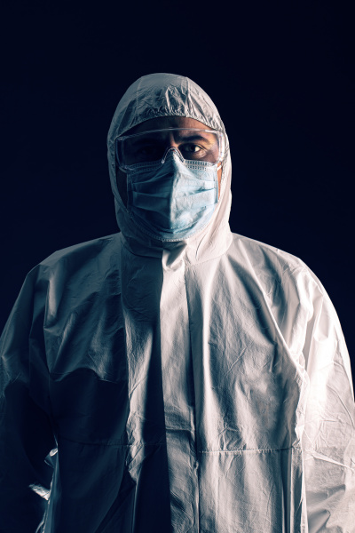 medical scientist wearing protective clothing