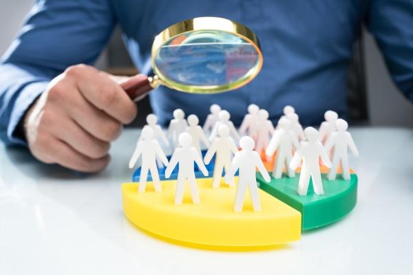 businessperson analyzing market segment