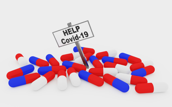 help covid 19 pills concept with