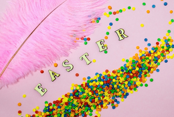 abstract easter card with scattered color