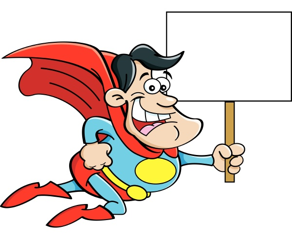 cartoon illustration of a flying superhero