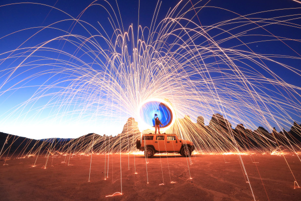 night, creative, light, painting, with, steel - 28215572
