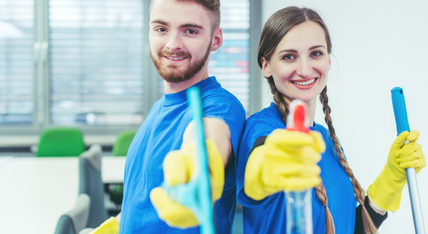 woman, and, man, in, commercial, cleaner - 28215292