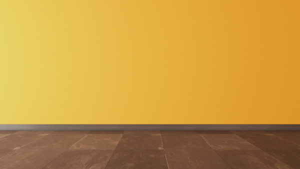 yellow wall and black stone floor