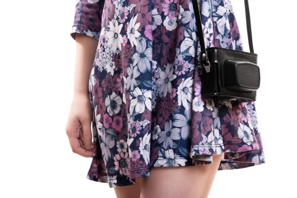 girl, in, flowery, dress, carrying, vintage - 28216427
