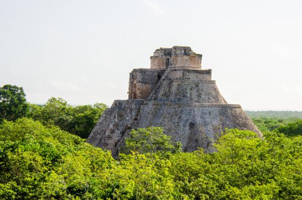 mayan pyramid peeking out of the