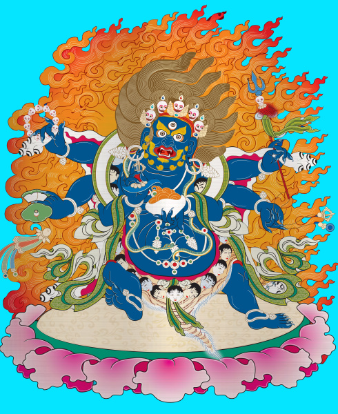 thangka tibet antique blue metallic illustration