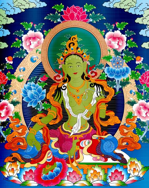 thangka tibet antique green metallic illustration