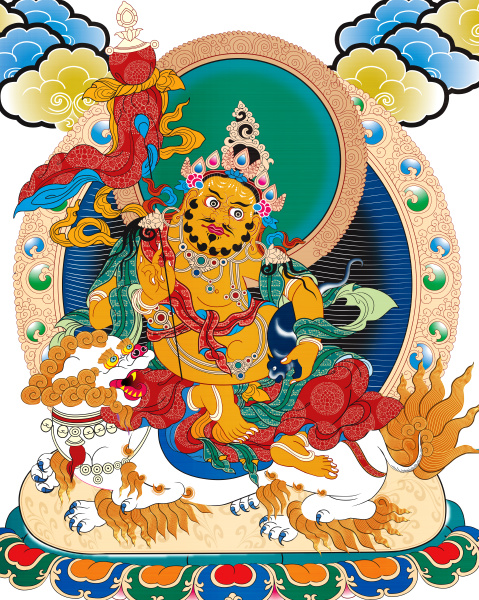 thangka tibet antique nepal metallic illustration