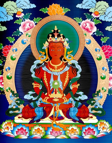 thangka tibet antique red metallic illustration