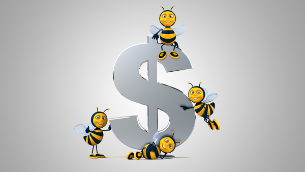 3d illustration of fun bees next