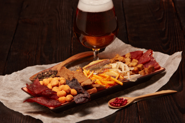 glass, with, beer, and, snacks - 28217187