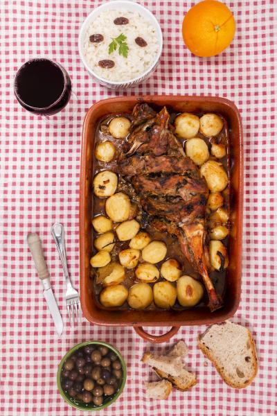 homemade roast lamb with potatoes