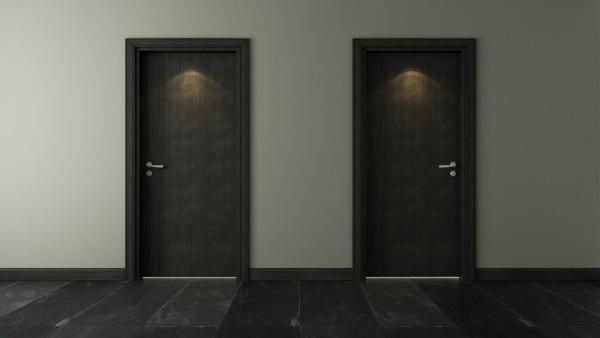 two black wooden door under spot